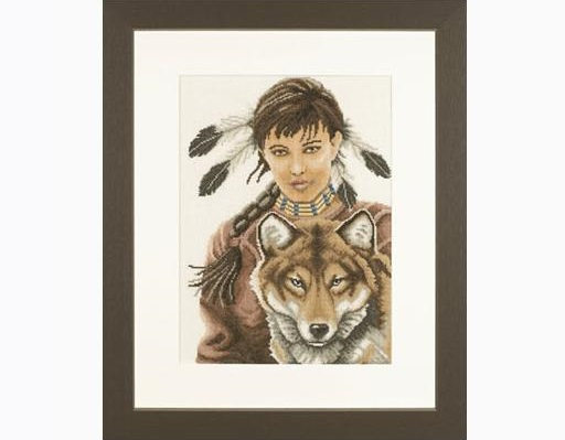 Lanarte 35069 Indian Girl with Wolf