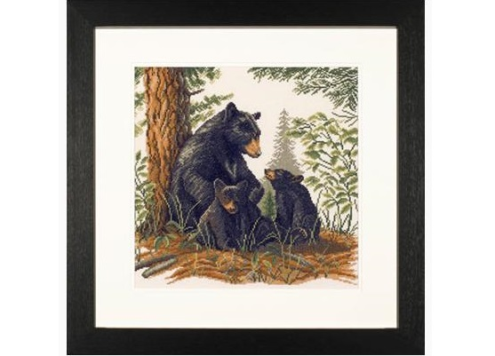 Lanarte 35094 Black Bear with Cubs